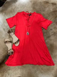 Red Short Sleeve Tunic