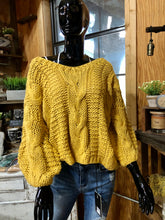 Load image into Gallery viewer, Hand-Made Slouchy Cable-Knit Sweater