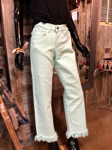 Mint Frayed Boyfriend Jeans