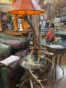 "Elk Antler Lamp with Table and 24"" Rawhide Shade"