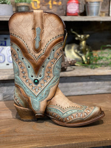 Corral Turquoise Switchable Ankle Boot