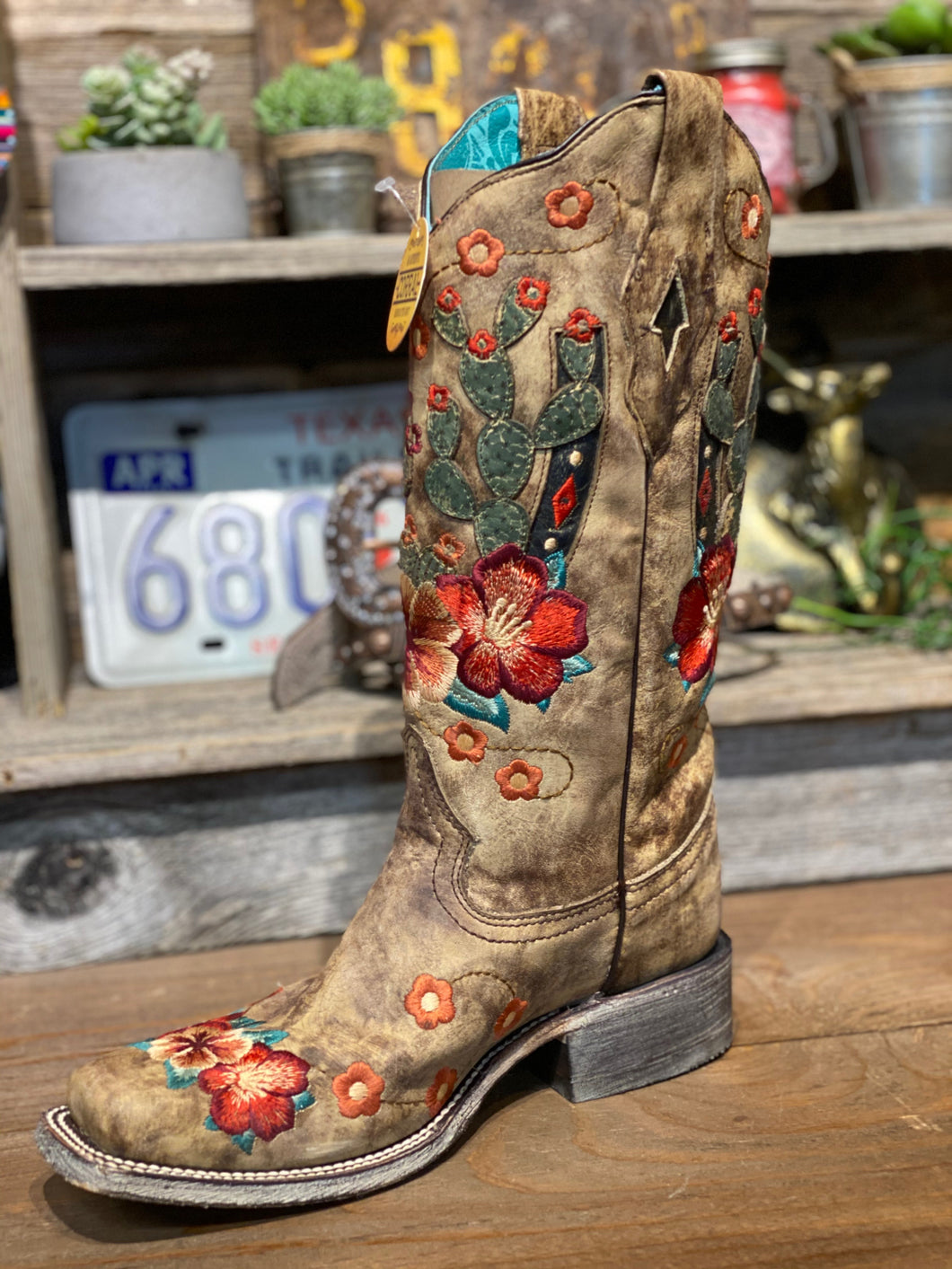 Corral Boots Cactus and Flower Embroidered Boots