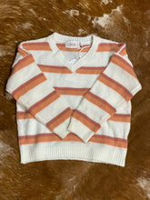 Load image into Gallery viewer, Girls Striped V-Neck Sweater