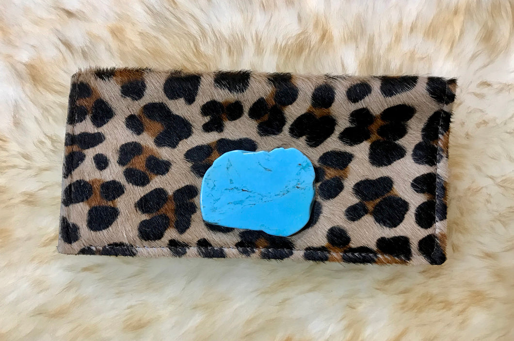 Leopard & Turquoise Stone Checkbook Cover