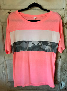 Camo Stripe Shirt- Pink, Grey, Teal