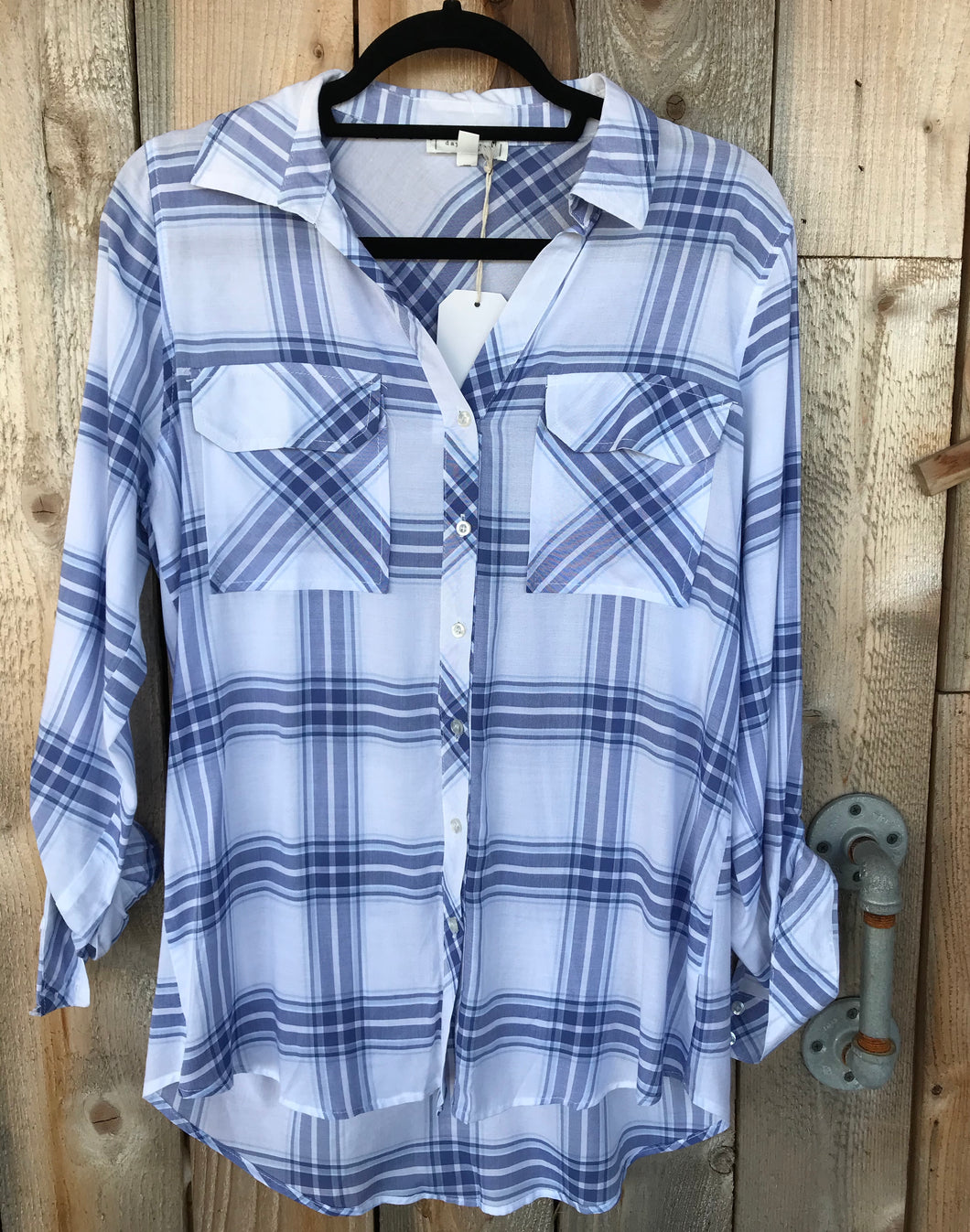 Blue/White Plaid Button Down Top