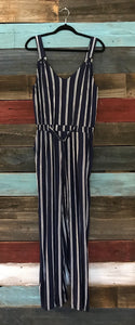 Navy and White Stripe Jumpsuit