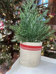Small Christmas Tree in Striped Burlap Bag