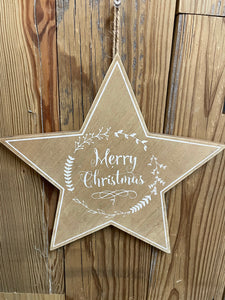 """Merry Christmas"" Wooden Star"
