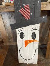 Load image into Gallery viewer, Double Sided Snowman/Scarecrow Wood Sign