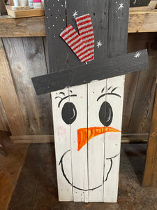 Double Sided Snowman/Scarecrow Wood Sign