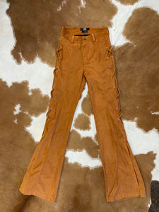 Camel Suede Bell Bottom Jeans