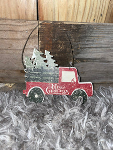Red Truck w/ Trees Ornament