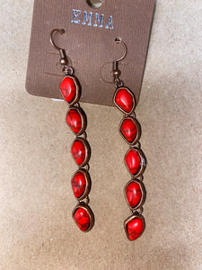 Red & Copper dangle earrings