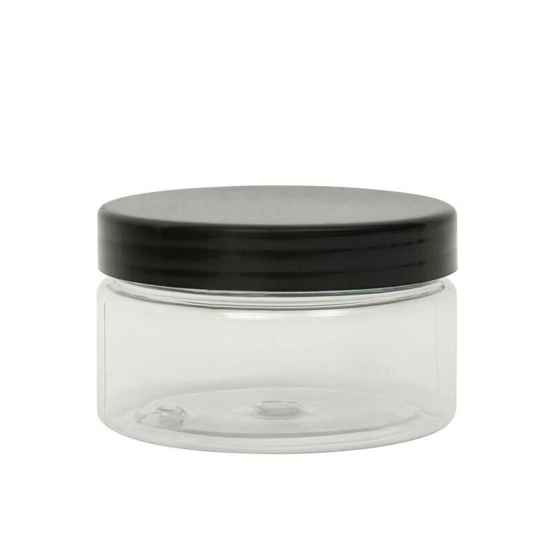 100ml Clear PET Straight Sided Jar & Black Smooth Lid 70/400 - Lucemill