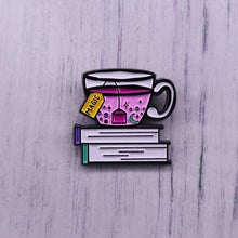 Load image into Gallery viewer, Tea and book lovers pin badge