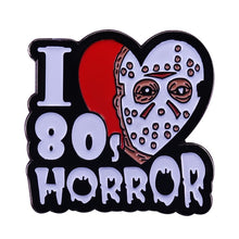 Load image into Gallery viewer, I love 80s horror enamel pin