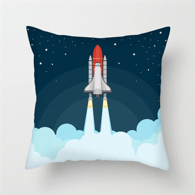 Lift Off! Space Rocket Cushion Cover