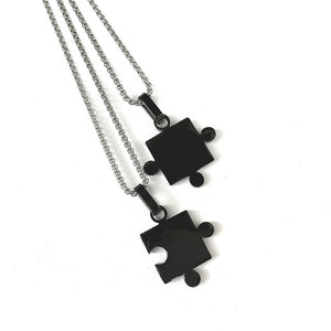 Stainless steel jigsaw pieces couples pendants