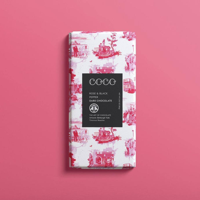 Coco Chocolatier | Rose & Black Pepper Dark Chocolate Bar
