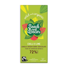 Load image into Gallery viewer, Seed & Bean | Chilli & Lime 72% Dark Chocolate Bar - Treat Me Good