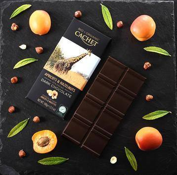 Cachet | Organic Apricot & Hazelnut 57% Dark Chocolate Bar 100G