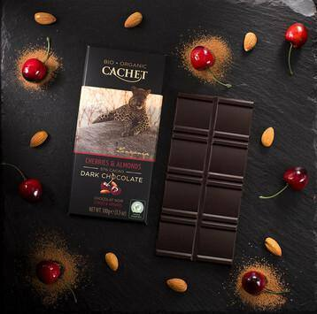 Cachet | Organic Cherry & Almond 57% Dark Chocolate Bar 100G