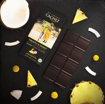 Cachet | Organic Coconut & Pineapple 57% Dark Chocolate Bar 100G