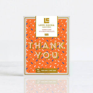 "Love Cocoa | ""Thank You"" Honeycomb 41% Milk Chocolate Bar"