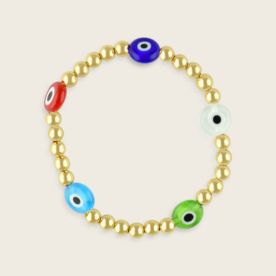 Iris Gold and Evil Eye Glass Bead Bracelet | Madeleine Jewelry