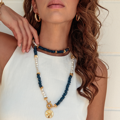 Aegean Maia Necklace - Baroque Pearls Ashanti Beads | Madeleine Lou Jewerly