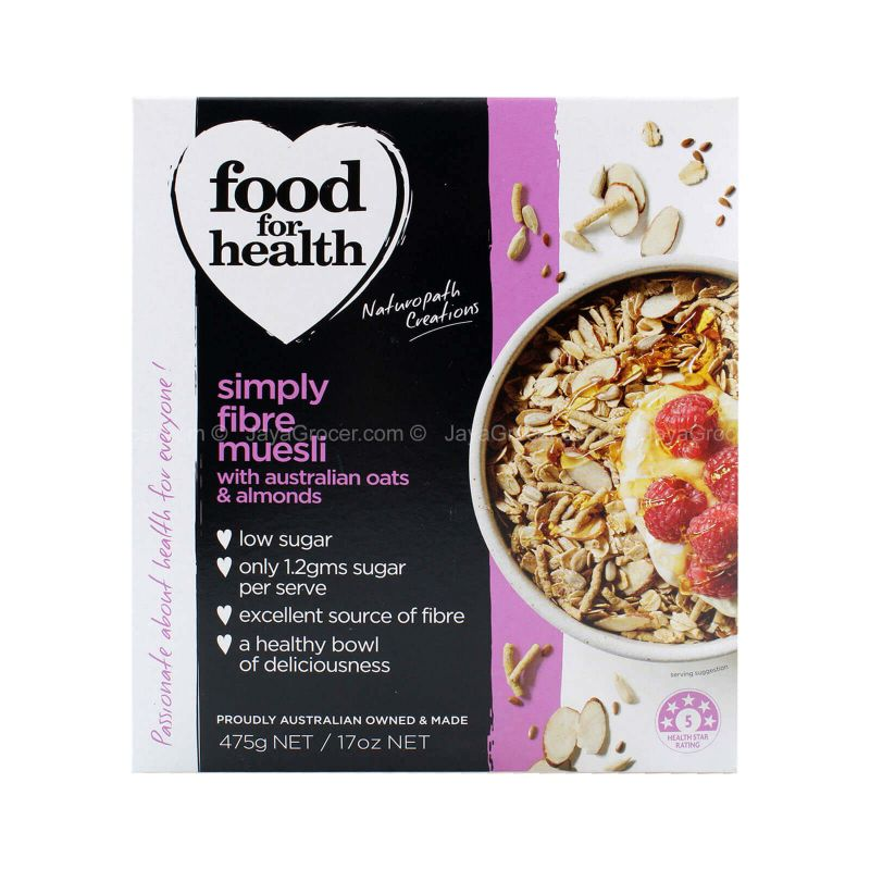 Food for Health Simply Fibre Muesli with Australian Oats & Almonds 475g