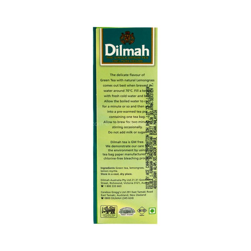 Dilmah Pure Ceylon Green Tea with Lemongrass 40g