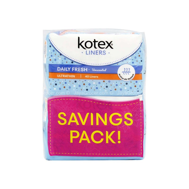 Kotex Liners Ultrathin Daily Fresh Unscented 40liners x 2packs