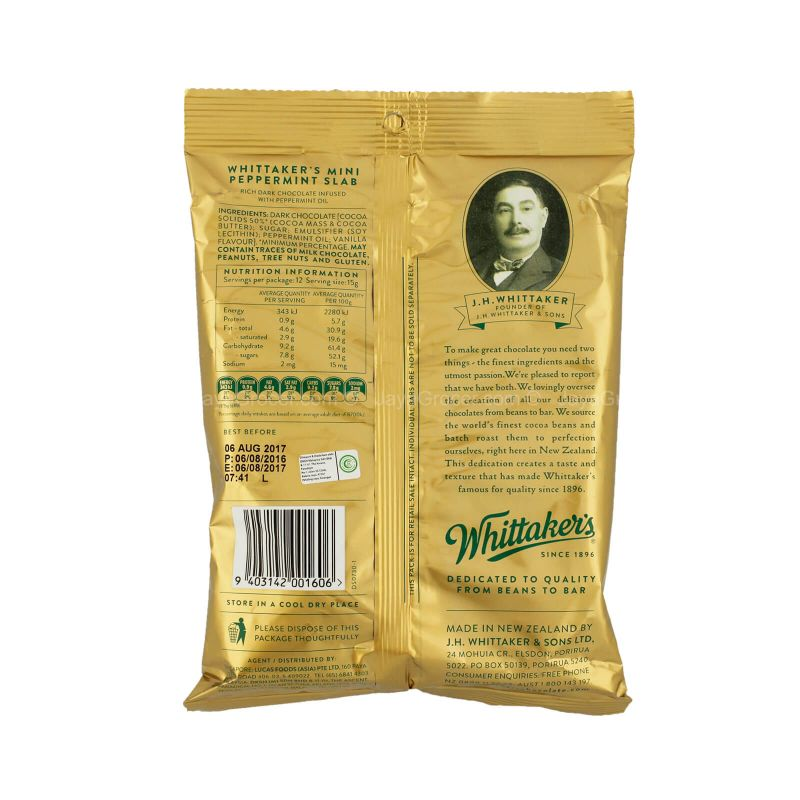 Whittaker's 12 Mini Dark Peppermint 180g