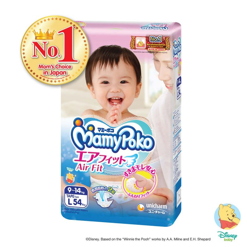 Mamy Poko Open Air Fit Baby Diapers Size L (9-14kg) 54pcs