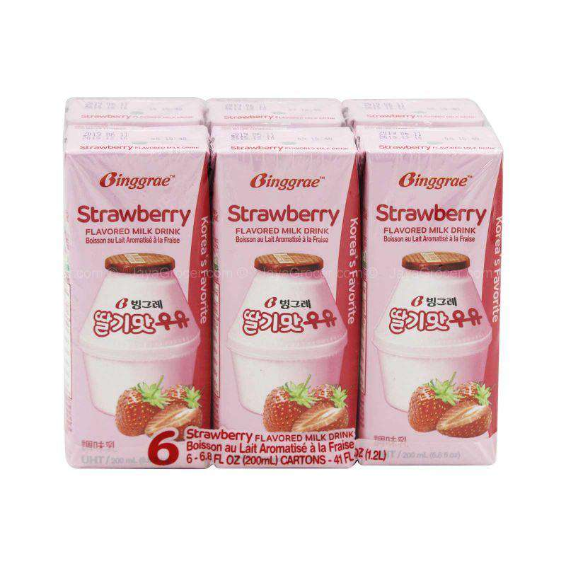 Binggrae Strawberry Milk Drink 200ml x 6