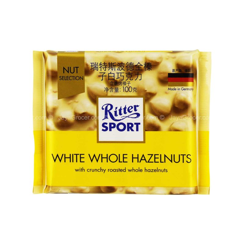 Ritter Sport White Whole Hazelnut Chocolate Bar 100g