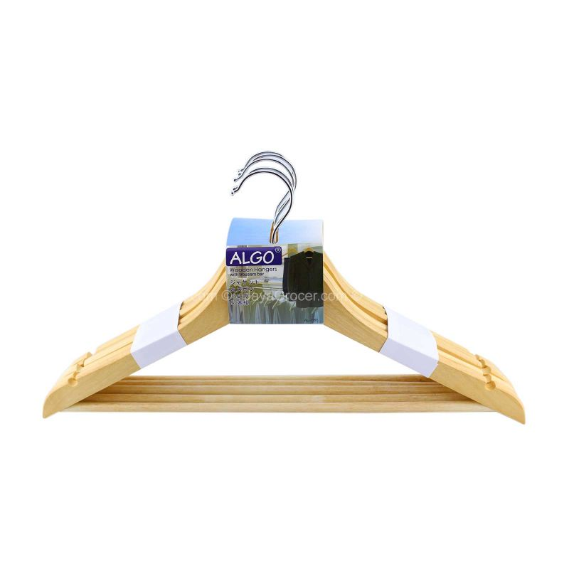 Algo Wooden Hanger with Trousers Bar 5pcs