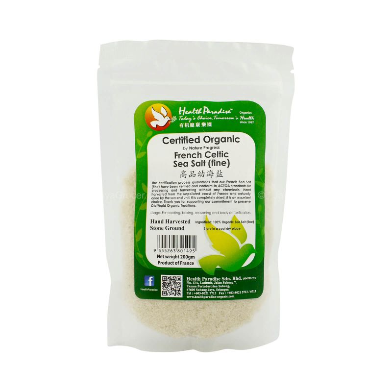 Health Paradise Certified Organic French Celtic Fine Sea Salt 200g