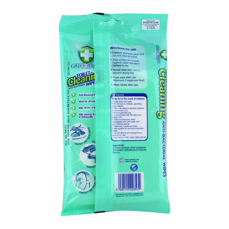Green Shield Anti-Bacterial Toilet Cleaning Wipes 40pcs