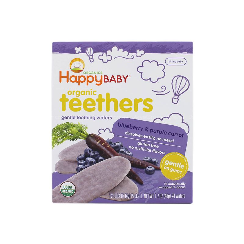 Happy Baby Organic Teethers Gentle Teething Wafers Blueberry and Purple Carrot Flavor 48g