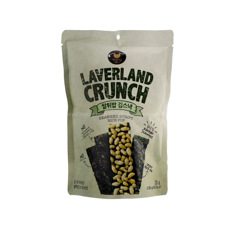 Manjun Laverland Crunch Seaweed Strips with Rice Pops 25g