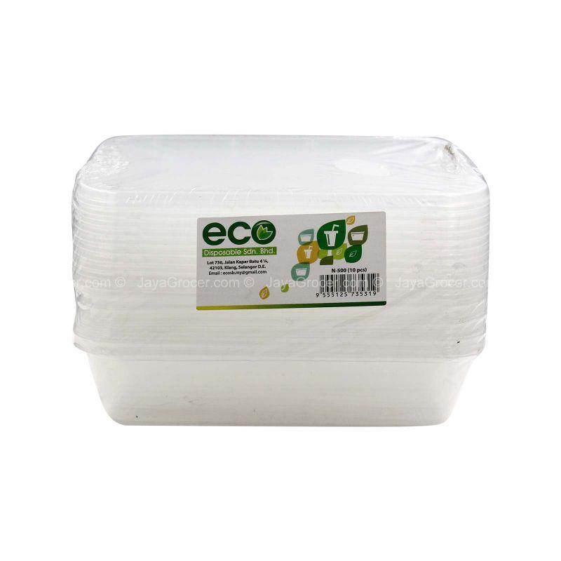 Eco Disposable Translucent Rectangular Container 10pcs