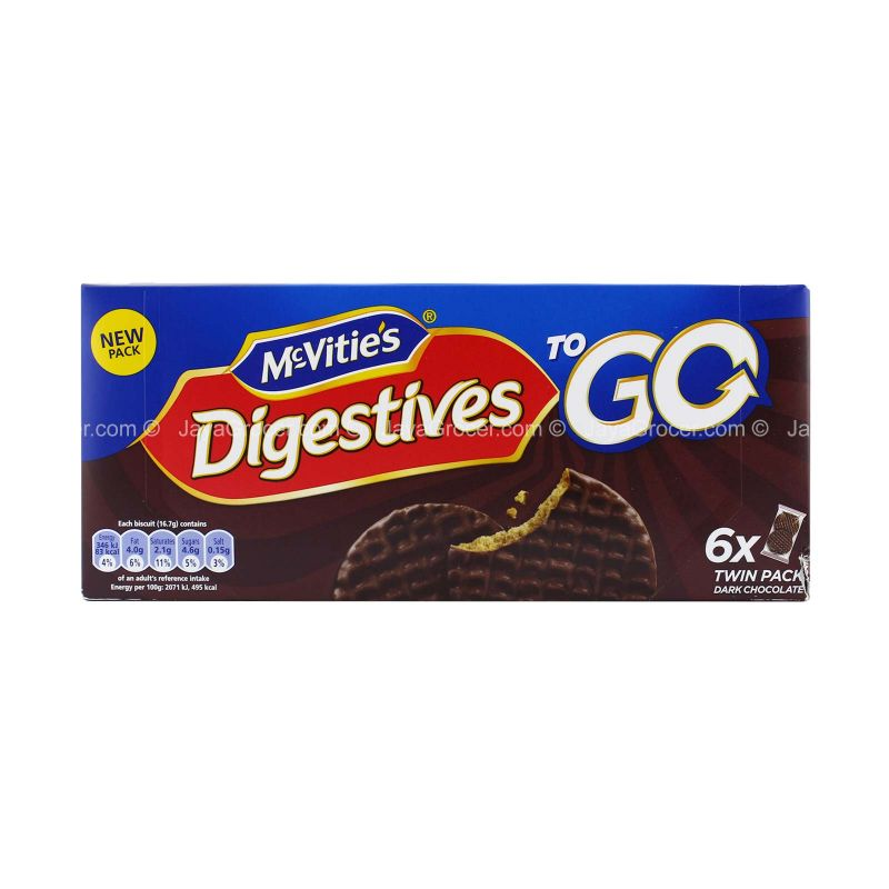 McVitie's Dark Chocolate Digestive To Go Biscuit 33.3g x 6