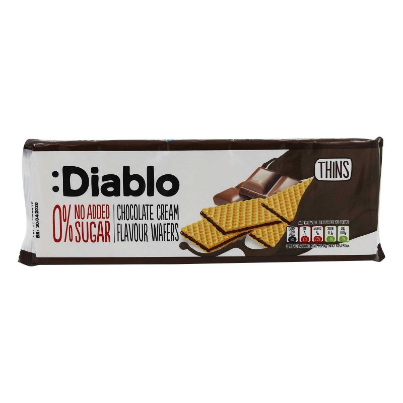 Diablo No Added Sugar Thins Wafers Chocolate Cream Flavour 160g