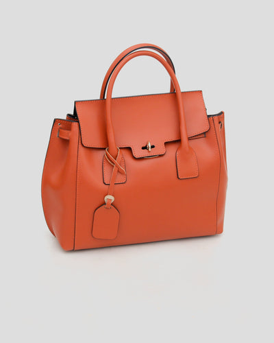 grand sac orange en cuir