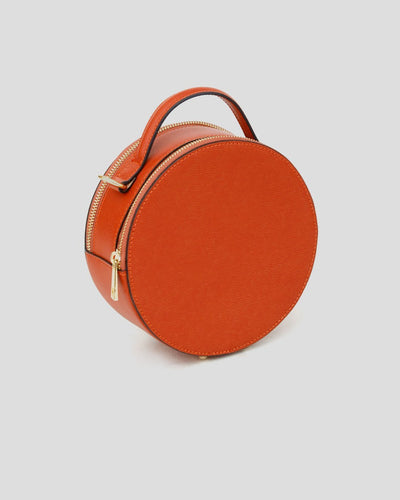 sac rond orange en cuir
