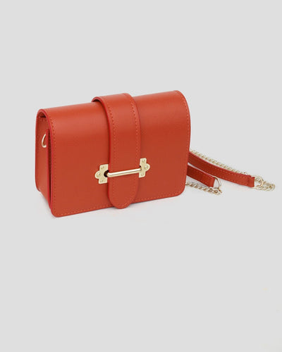 mini sac orange en cuir