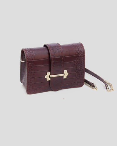 mini sac lie de vin en cuir croco